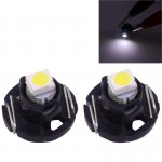 2 PCS T4.2 White Light 0.1W 5LM 1 LED SMD 3528 LED Instrument Light Bulb Dashboard Light for Vehicles, DC 12V