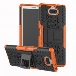 Tire Texture TPU+PC Shockproof Case for Sony Xperia XA3, with Holder (Orange)