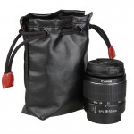 Soft PU Leather + Villus Storage Bag with Stay Cord for Camera Lens, Size: 90mm x 60mm x 160mm