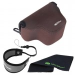 NEOpine Neoprene Soft Triangle Camera Bag + Hand Strap + Cleaning Cloth Set for Samsung NX3000 Camera 20-50mm Lens(Brown)