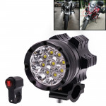 DC 9V-48V 5500LM 6000K 45W IP67 9 LED Lamp Beads Motorcycle Aluminum Alloy LED Headlight Lamps with Switch, Constantly Bright