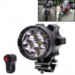 DC 9V-48V 4000LM 6000K 30W IP67 6 LED Lamp Beads Motorcycle Aluminum Alloy LED Headlight Lamps with Switch, Constantly Bright