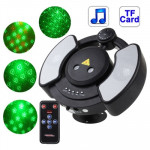 Disco Laser Player Music Player Party Stage Lighting with Remote Control, Support TF Card(Black)