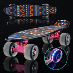 Shining Fish Plate Scooter Single Tilt Four Wheel Skateboard with 72mm Grinding Flash Wheel (Pink)
