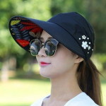 Women Summer Casual Going Out Ultraviolet-proof Korean Style Folded Sun Block Hat Breathable And Light(Red)