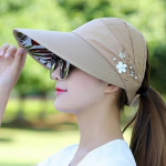 Women Summer Casual Going Out Ultraviolet-proof Korean Style Folded Sun Block Hat Breathable And Light(Blue)