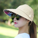 Women Summer Casual Going Out Ultraviolet-proof Korean Style Folded Sun Block Hat Breathable And Light(Yellow)