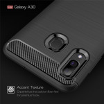 Brushed Texture Carbon Fiber Shockproof TPU Case for Galaxy A30(Black)