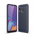Brushed Texture Carbon Fiber Shockproof TPU Case for Galaxy A30(Navy Blue)