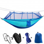 1-2 Person Outdoor Mosquito Net Parachute Hammock Camping Hanging Sleeping Bed Swing Portable Double Chair, 260 x 140cm(blue)
