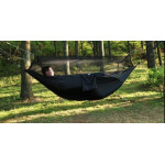 1-2 Person Outdoor Mosquito Net Parachute Hammock Camping Hanging Sleeping Bed Swing Portable Double Chair, 260 x 140cm(Black