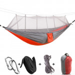 1-2 Person Outdoor Mosquito Net Parachute Hammock Camping Hanging Sleeping Bed Swing Portable Double Chair, 260 x 140cm(Orange