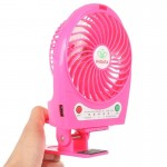 Hadata 4.3 inch Portable USB / Li-ion Battery Powered Rechargeable Fan with Third Wind Gear Adjustment & Clip(Magenta)