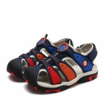 Summer Korean Version Of The New Children\'s Baotou Beach Shoes (Color:Dark Blue Red Size:34)