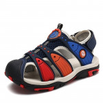 Summer Korean Version Of The New Children\'s Baotou Beach Shoes (Color:Dark Blue Red Size:28)