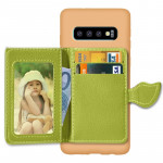 Leaf Magnetic Snap Litchi Texture TPU Protective Case for Galaxy S10+, with Card Slots & Holder & Wallet (Green)