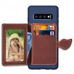 Leaf Magnetic Snap Litchi Texture TPU Protective Case for Galaxy S10+, with Card Slots & Holder & Wallet (Dark Blue)