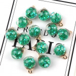 50pcs 16mm Colorful Transparent Glass Ball Star Charms Pendant(Green)