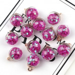 50pcs 16mm Colorful Transparent Glass Ball Star Charms Pendant(Rose)