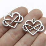 50PCS 27x22mm Heart Infinity Charm Infinity Knot Charm Infinity Heart Charm For Jewelry Making