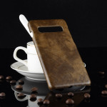 Shockproof Litchi Texture PC + PU Case for Galaxy S10 5G (Brown)