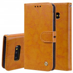 Business Style Oil Wax Texture Horizontal Flip Leather Case for Galaxy S10 E, with Holder & Card Slots & Wallet (Brown)