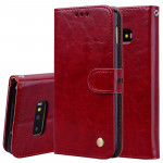 Business Style Oil Wax Texture Horizontal Flip Leather Case for Galaxy S10 E, with Holder & Card Slots & Wallet (Red)