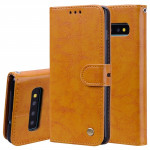 Business Style Oil Wax Texture Horizontal Flip Leather Case for Galaxy S10 Plus, with Holder & Card Slots & Wallet (Brown)