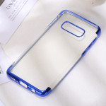 Three Sections Electroplating Side TPU Protective Back Case for Galaxy S10 E (Blue)