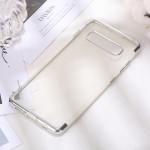 Three Sections Electroplating Side TPU Protective Back Case for Galaxy S10 Plus (Silver)