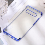 Three Sections Electroplating Side TPU Protective Back Case for Galaxy S10 Plus (Blue)