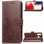 Lucky Clover Pressed Flowers Pattern Leather Case for Galaxy A8s, with Holder & Card Slots & Wallet & Hand Strap (Brown)