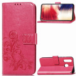 Lucky Clover Pressed Flowers Pattern Leather Case for Galaxy A8s, with Holder & Card Slots & Wallet & Hand Strap (Rose Red)