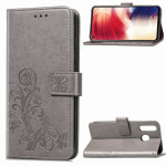 Lucky Clover Pressed Flowers Pattern Leather Case for Galaxy A8s, with Holder & Card Slots & Wallet & Hand Strap (Grey)