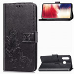 Lucky Clover Pressed Flowers Pattern Leather Case for Galaxy A8s, with Holder & Card Slots & Wallet & Hand Strap (Black)