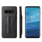 Fierre Shann Full Coverage Protective Leather Case for Galaxy S10+, with Holder & Card Slot (Black)
