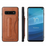 Fierre Shann Full Coverage Protective Leather Case for Galaxy S10+, with Holder & Card Slot (Brown)