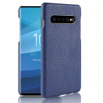 Shockproof Crocodile Texture PC + PU Case for Galaxy S10+ (Blue)