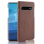 Shockproof Crocodile Texture PC + PU Case for Galaxy S10+ (Brown)