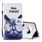Cool Cat Pattern Horizontal Flip Leather Case for Galaxy S10+, with Holder & Card Slots & Wallet
