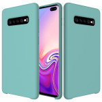 Shockproof Solid Color Liquid Silicone Case for Galaxy S10+ (Blue)