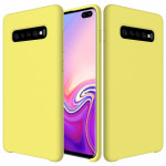 Shockproof Solid Color Liquid Silicone Case for Galaxy S10+ (Yellow)