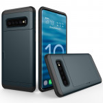 Shockproof Rugged Armor Protective Case for Galaxy S10, with Card Slot (Navy Blue)