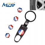 MZ Universal 8mm France Flag Pattern Replacement Aluminum Alloy Car Tire Valve Caps + Key Ring Set