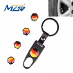 Universal 8mm Germany Flag Pattern Replacement Aluminum Alloy Car Tire Valve Caps + Key Ring Set