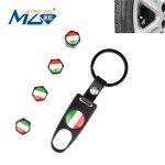 Universal 8mm Italy Flag Pattern Replacement Aluminum Alloy Car Tire Valve Caps + Key Ring Set