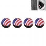 Universal 8mm USA Flag Pattern Ball Style Plastic Car Tire Valve Caps, Pack of 4
