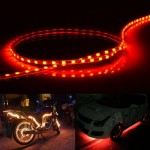 Red Light Normally-on Style 45 LED 3528 SMD Waterproof Flexible Car Strip Light for Car Decoration, DC 12V, Length: 45cm