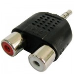 RCA Female to 3.5 MM Male Jack Audio Y Adapter