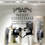 Home Decor Merry Christmas Happy New Year Removable Wall Stickers, Size: 58cm x 58cm(Black)